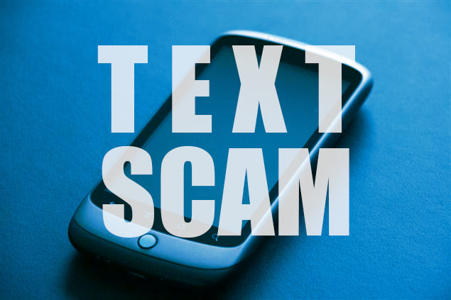 Text Scam graphic of cell phone