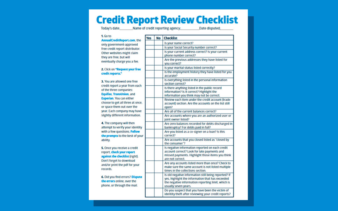 Credit Report Review Checklist