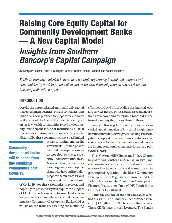 Southern Bancorp Community Partners Policy Points